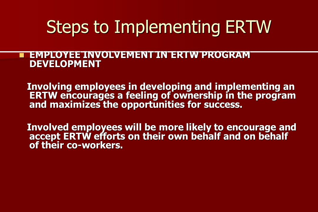 Steps to Implementing ERTW