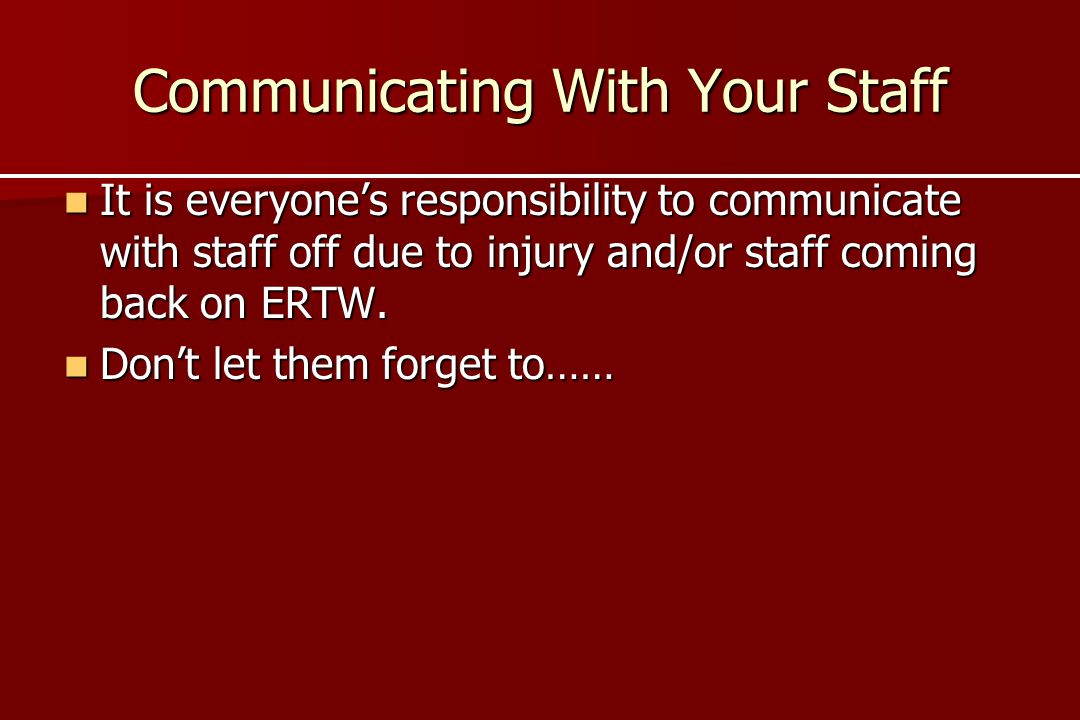 Communicating With Your Staff