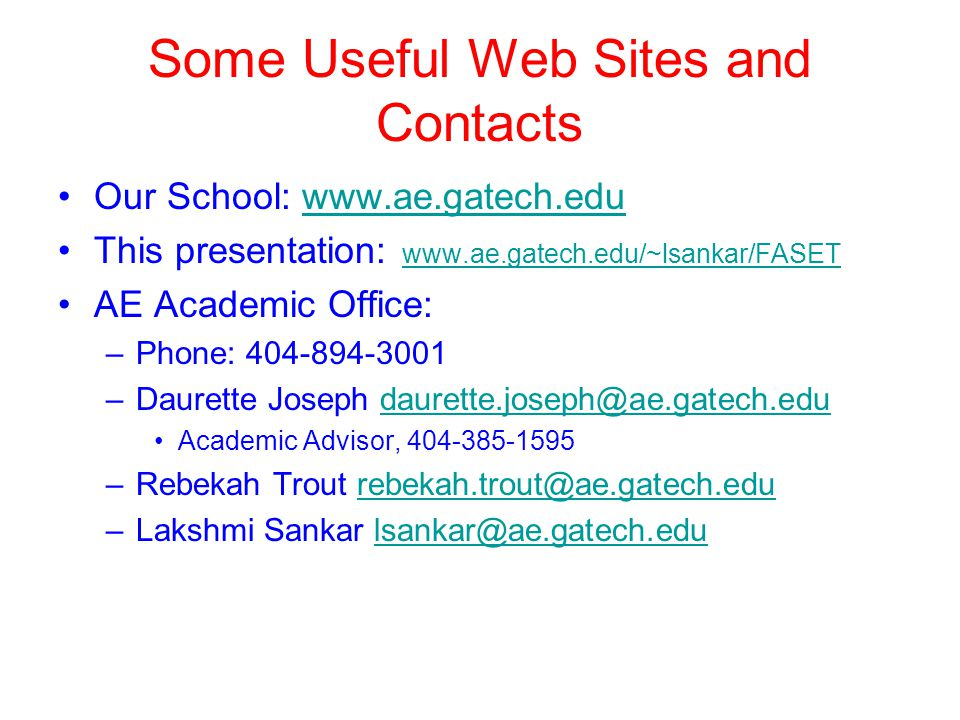 Some Useful Web Sites and Contacts