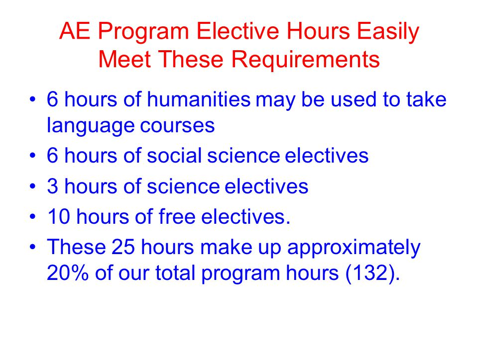AE Program Elective Hours Easily Meet These Requirements