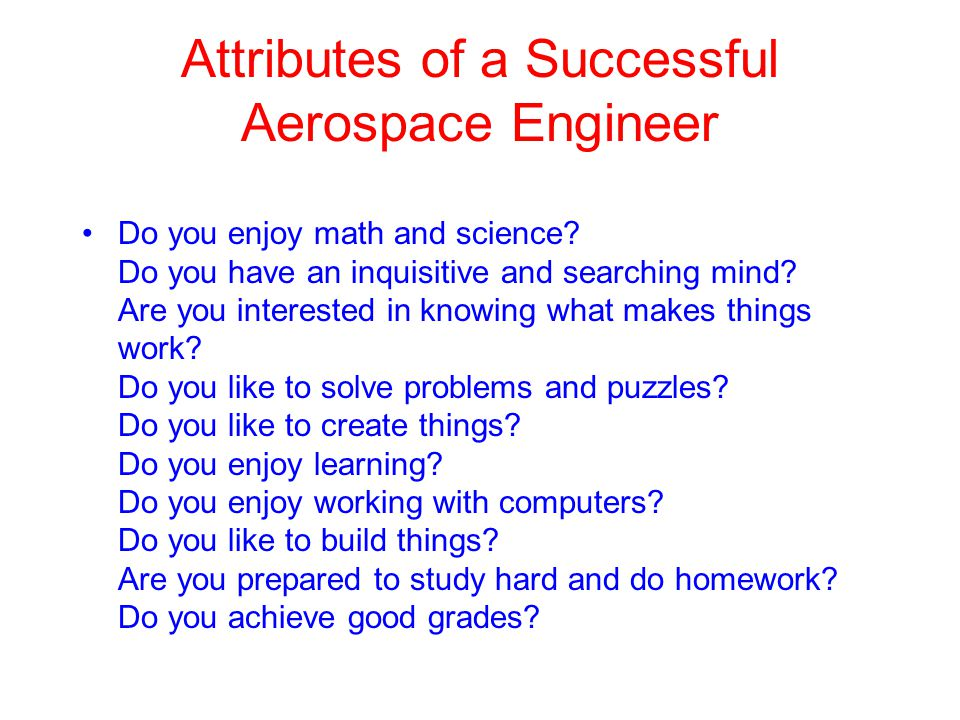 Attributes of a Successful Aerospace Engineer