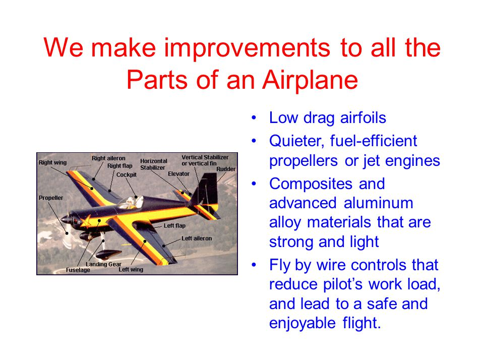 We make improvements to all the Parts of an Airplane