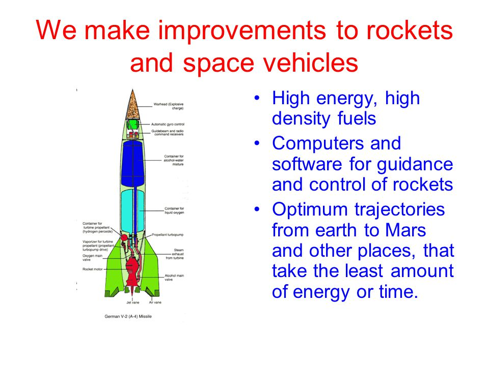 We make improvements to rockets and space vehicles