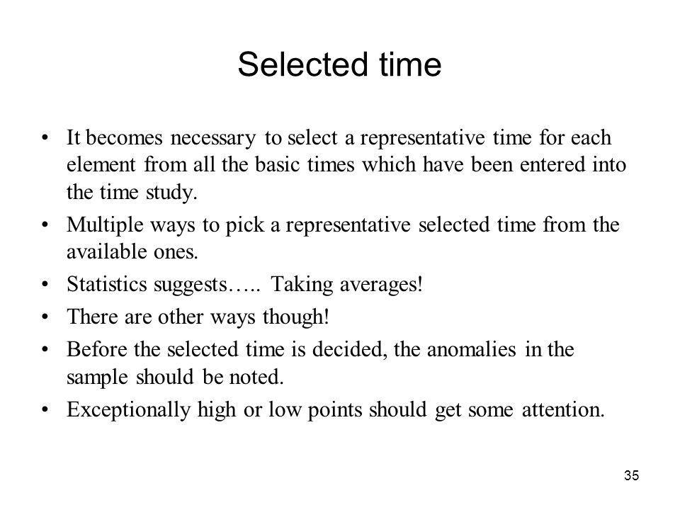 Selected time