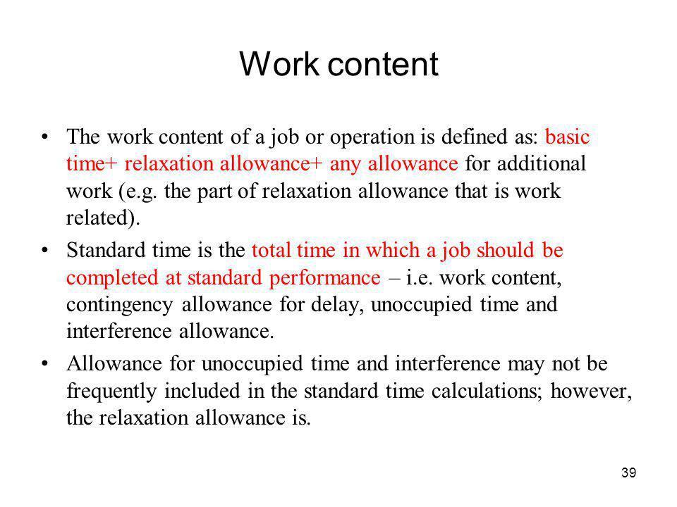 Work content