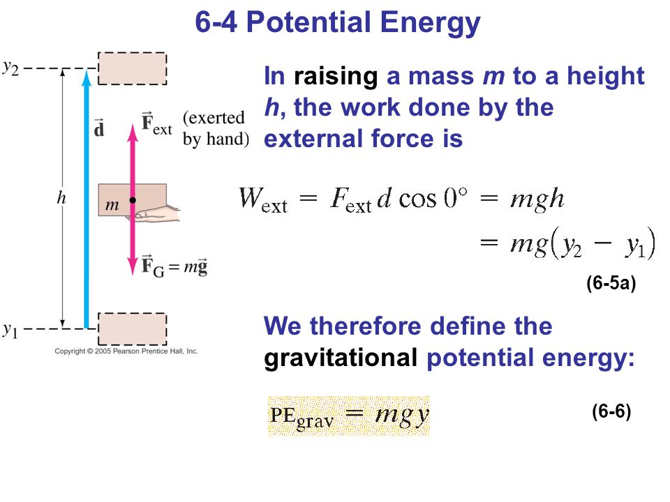 6-4 Potential Energy In raising a mass m to a height h, the work done by the external force is.