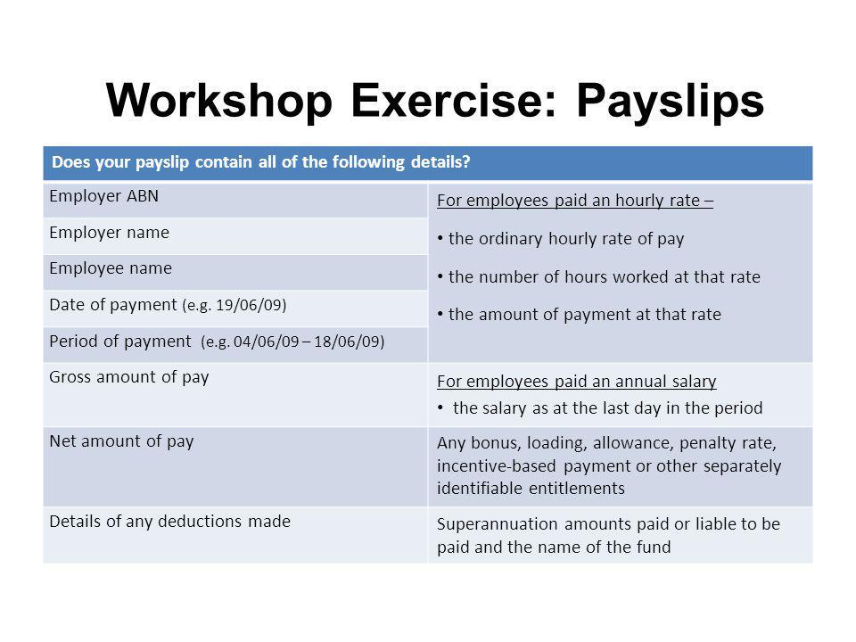 Workshop Exercise: Payslips