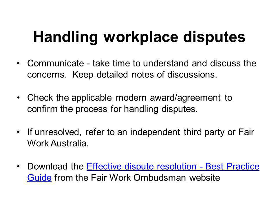 Handling workplace disputes