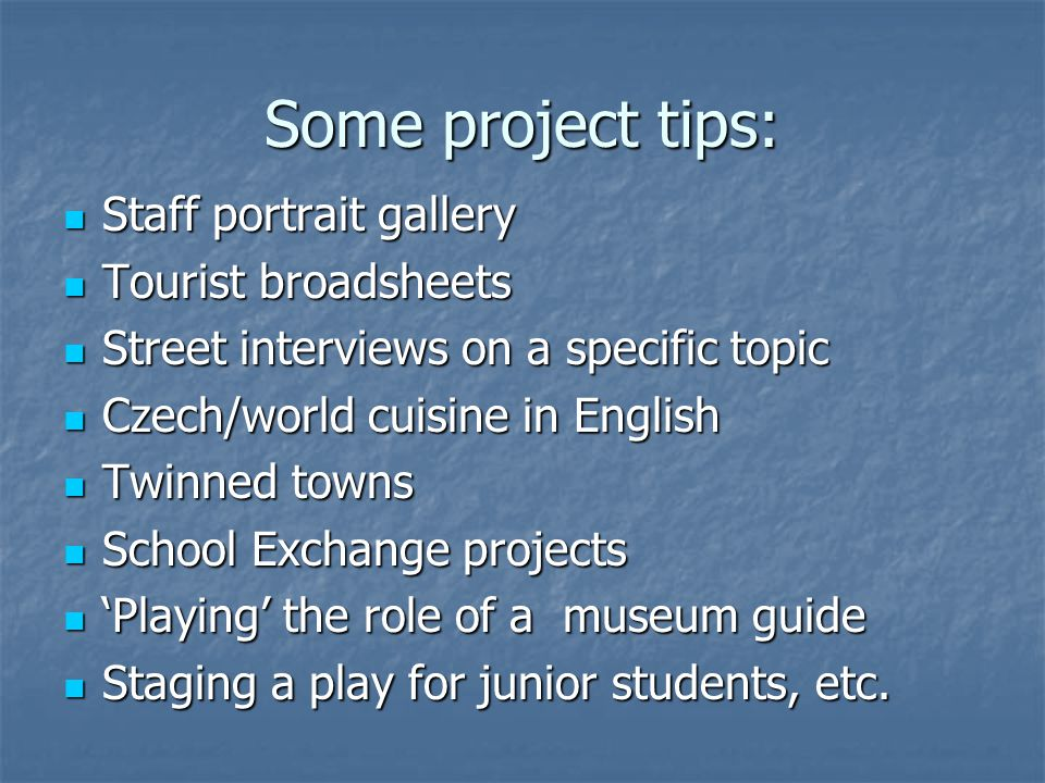 Some project tips: Staff portrait gallery Tourist broadsheets