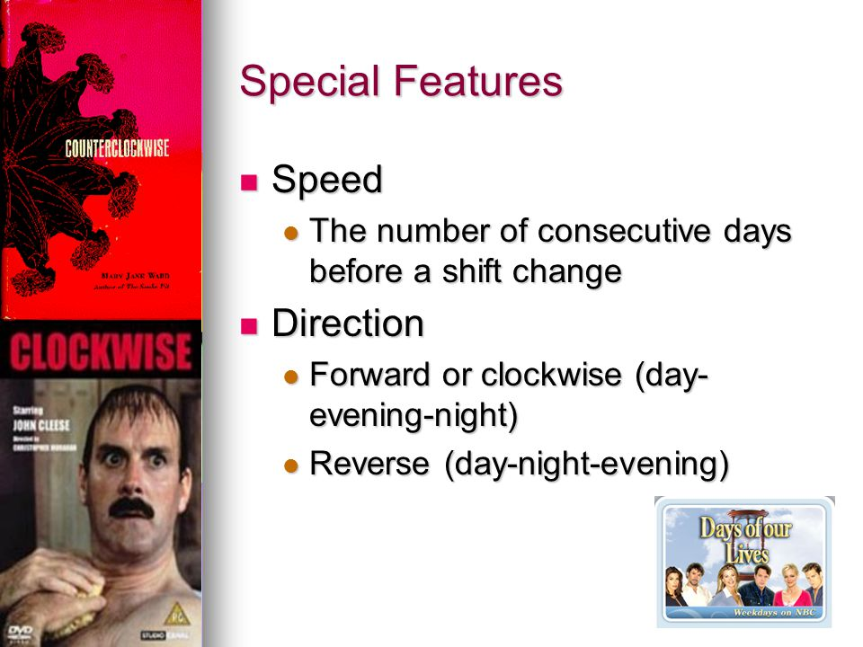 Special Features Speed Direction