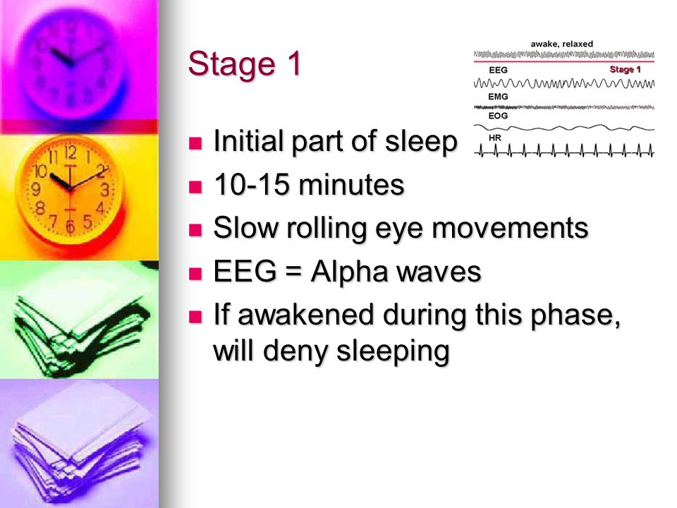 Stage 1 Initial part of sleep 10-15 minutes Slow rolling eye movements