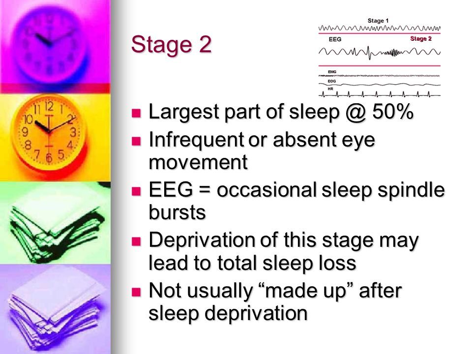 Stage 2 Largest part of sleep @ 50% Infrequent or absent eye movement