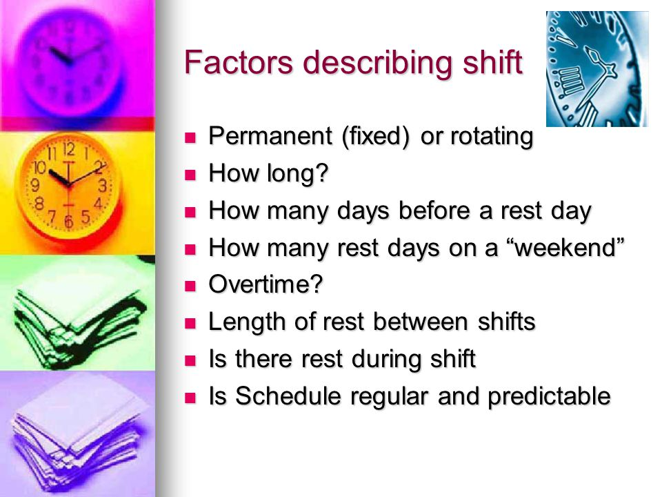 Factors describing shift