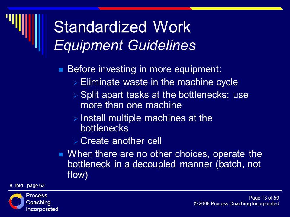Standardized Work Equipment Guidelines