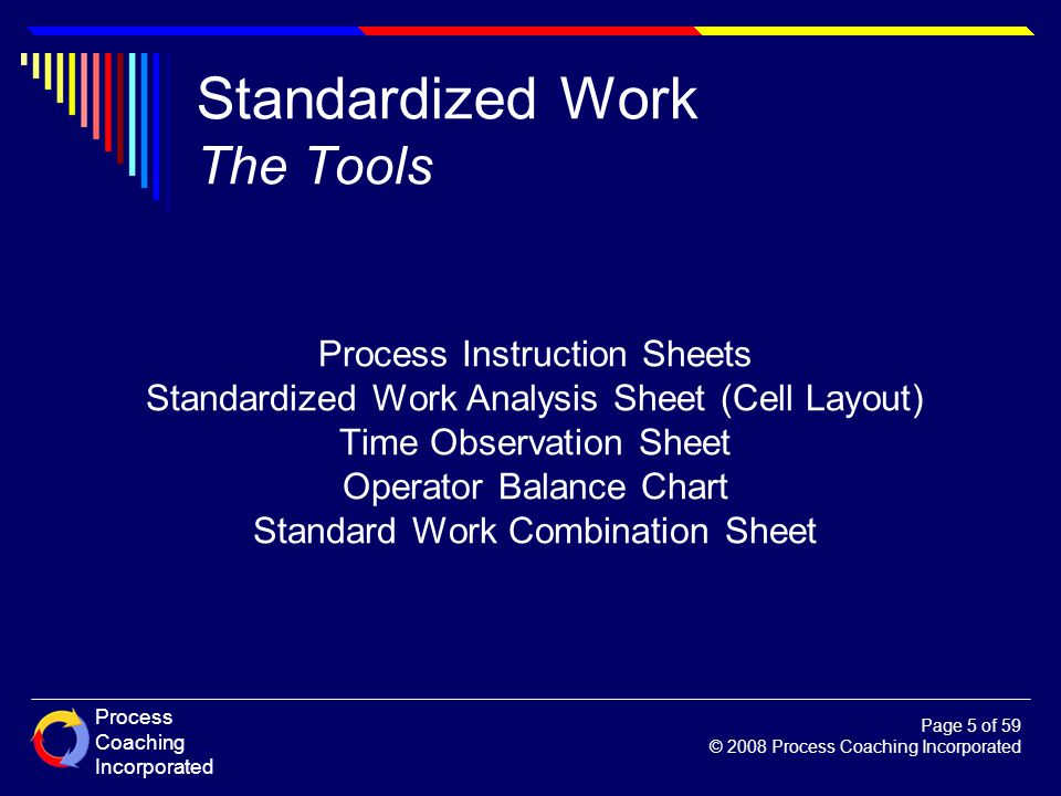 Standardized Work The Tools