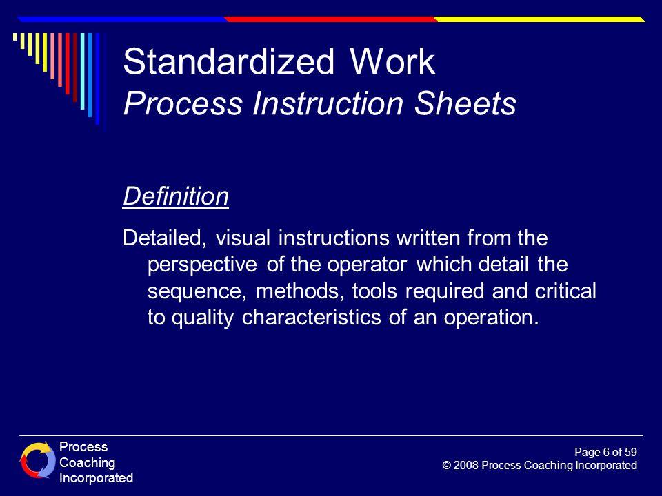 Standardized Work Process Instruction Sheets
