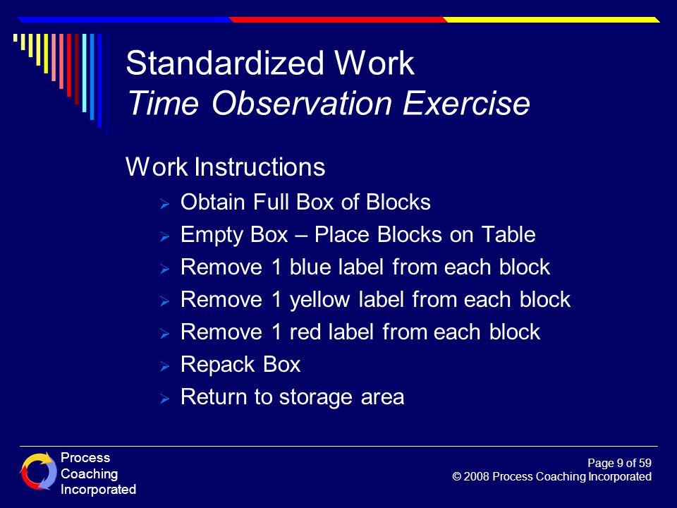 Standardized Work Time Observation Exercise