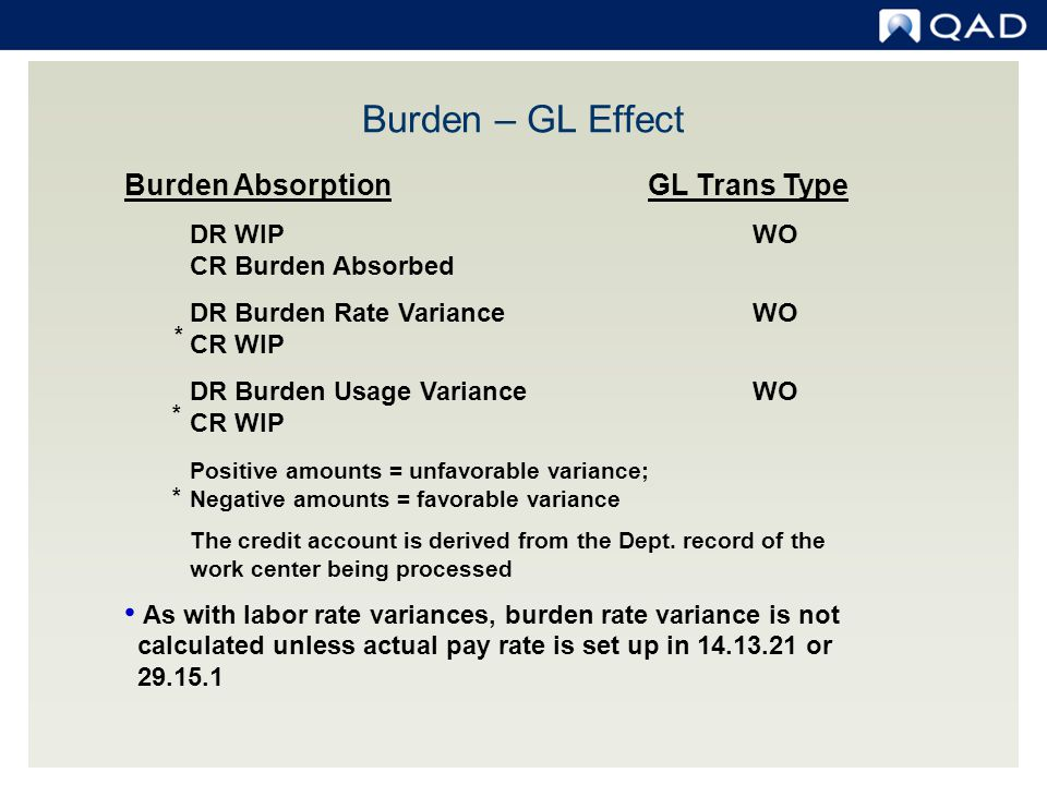 Burden – GL Effect Burden Absorption GL Trans Type