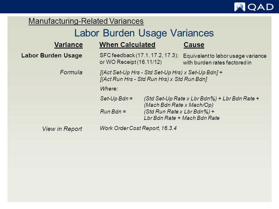 Labor Burden Usage Variances