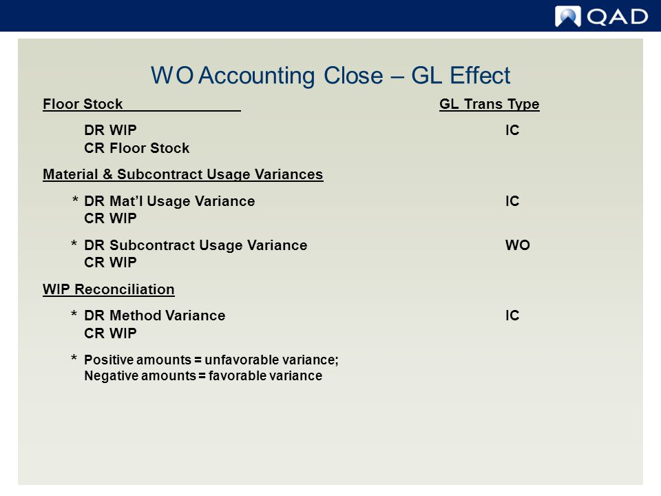WO Accounting Close – GL Effect
