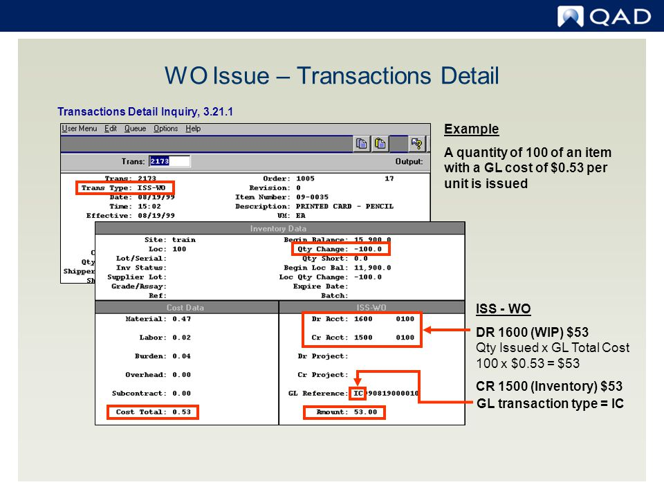 WO Issue – Transactions Detail