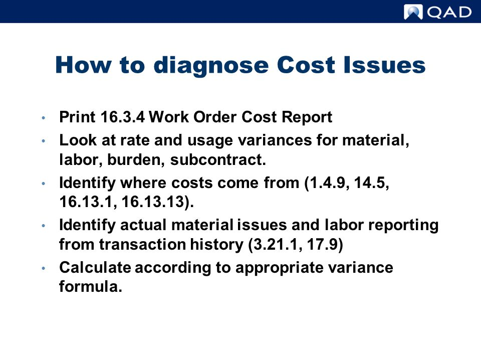 How to diagnose Cost Issues