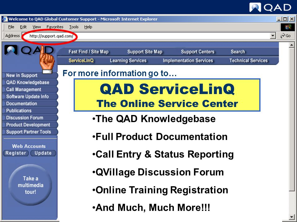 QAD ServiceLinQ The Online Service Center