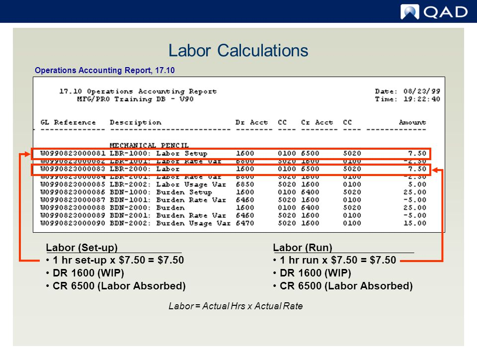 Labor = Actual Hrs x Actual Rate