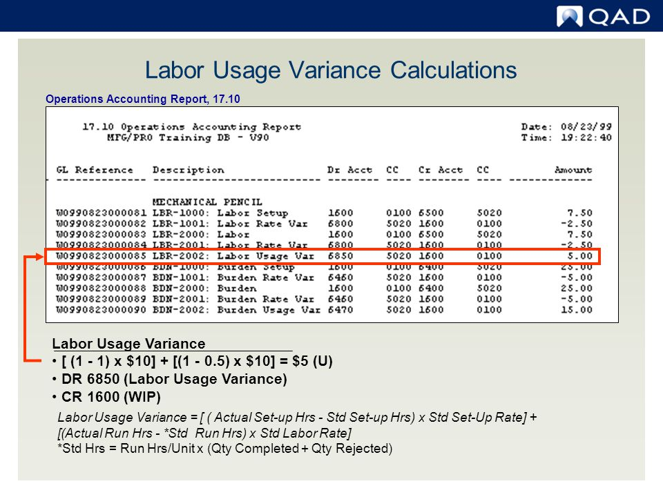 Labor Usage Variance Calculations