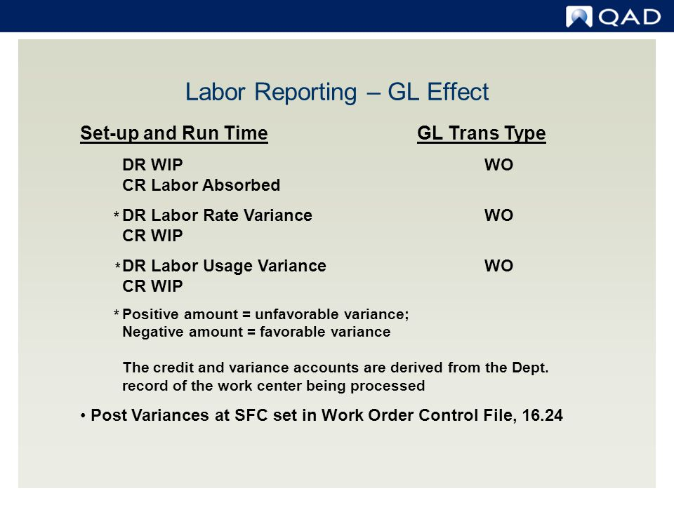 Labor Reporting – GL Effect