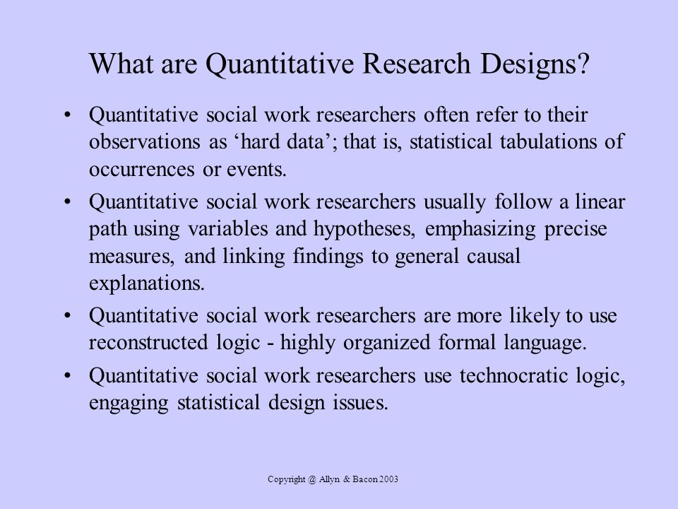 What are Quantitative Research Designs