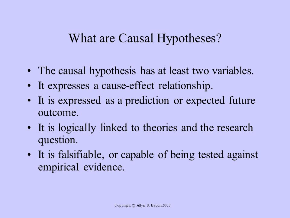 What are Causal Hypotheses