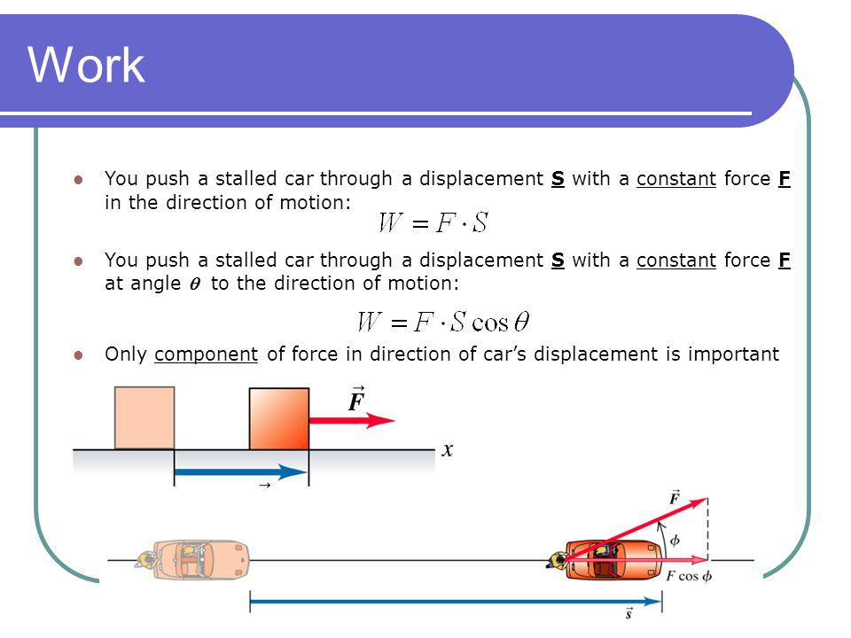 Work You push a stalled car through a displacement S with a constant force F in the direction of motion: