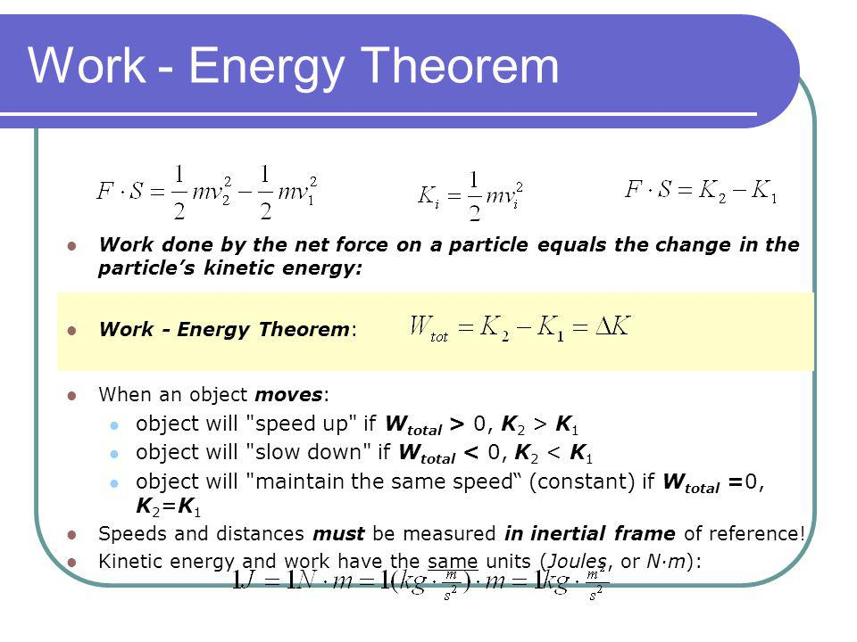 Work - Energy Theorem Work done by the net force on a particle equals the change in the particle's kinetic energy:
