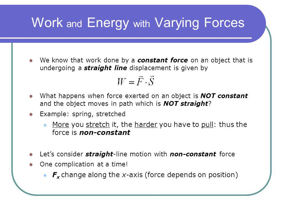 Work and Energy with Varying Forces