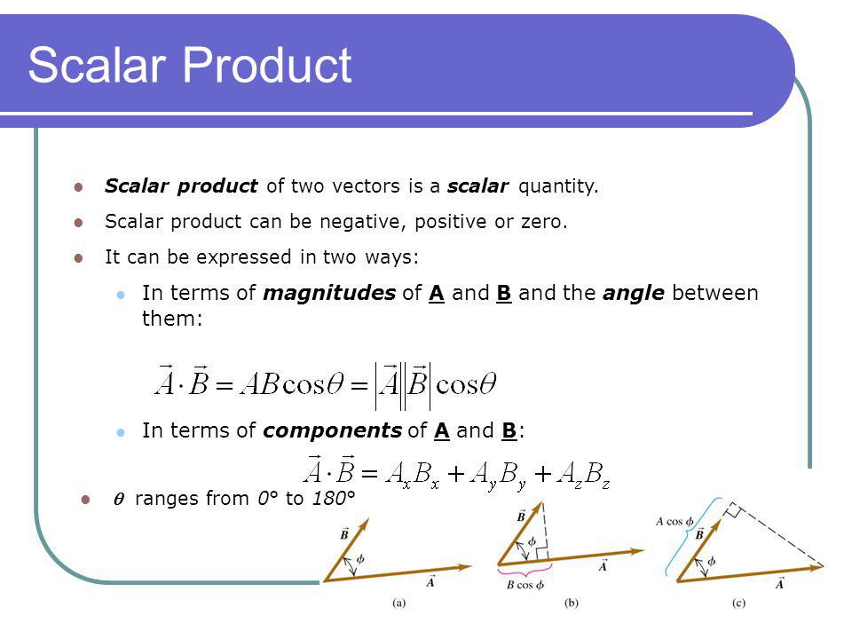 Scalar Product Scalar product of two vectors is a scalar quantity. Scalar product can be negative, positive or zero.