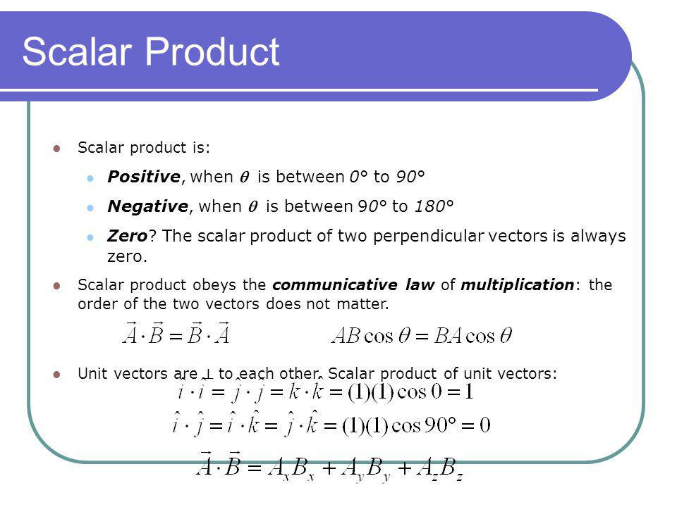 Scalar Product Positive, when  is between 0° to 90°