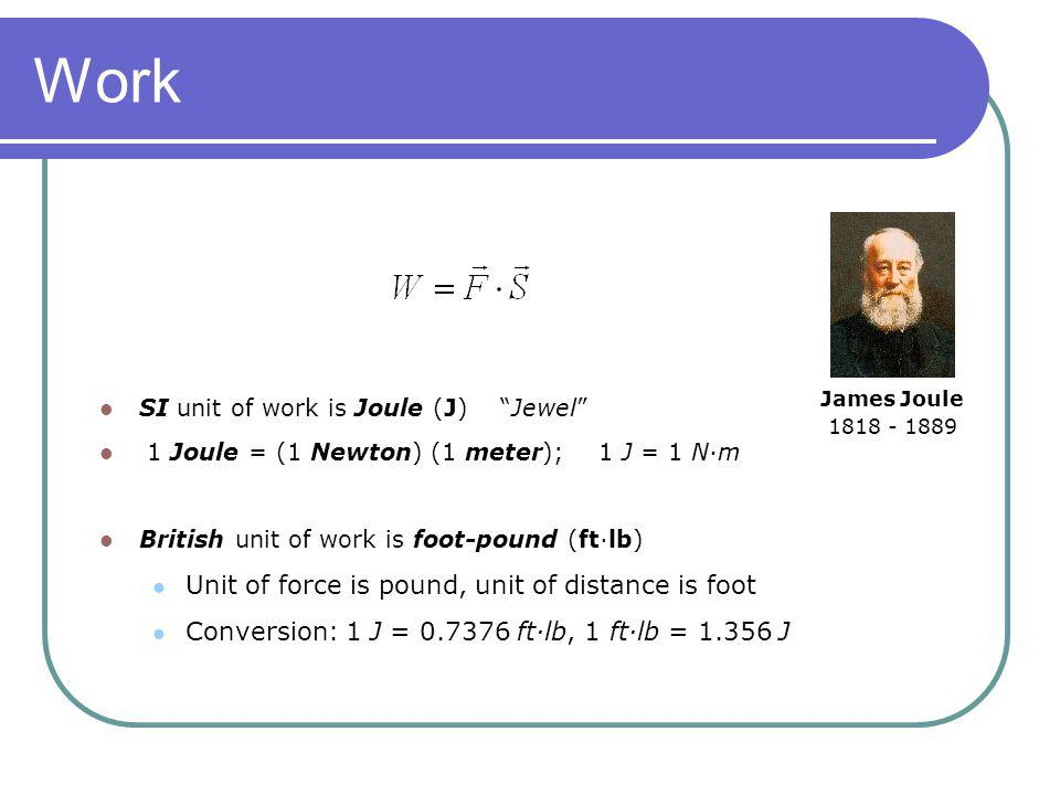 Work Unit of force is pound, unit of distance is foot