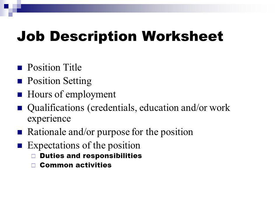 Job Description Worksheet