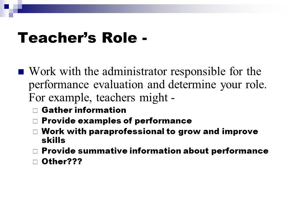 Teacher's Role - Work with the administrator responsible for the performance evaluation and determine your role. For example, teachers might -