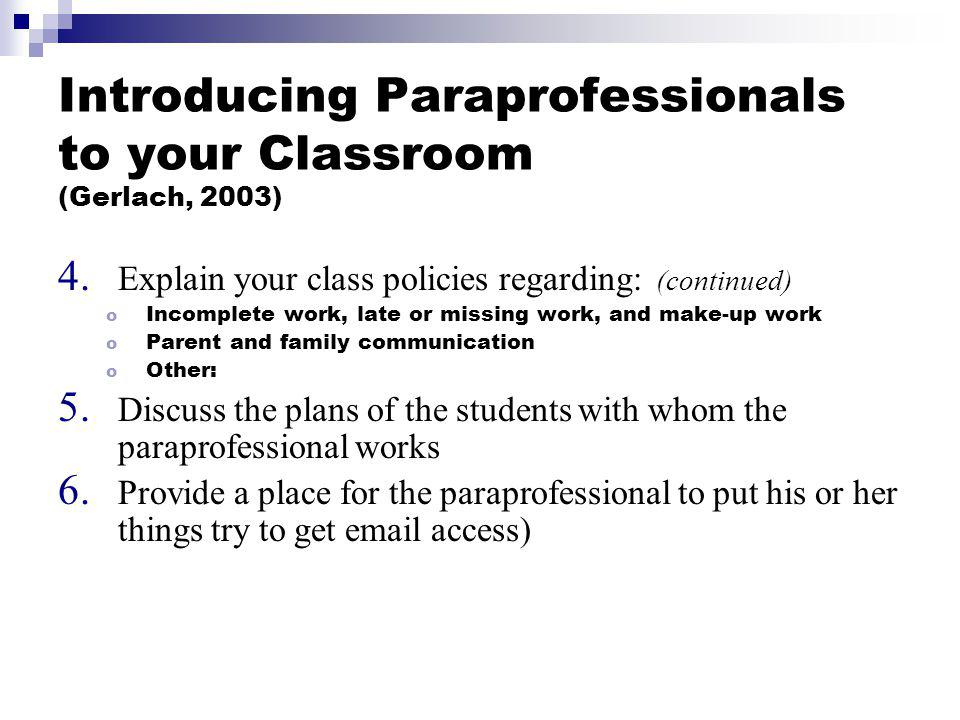 Introducing Paraprofessionals to your Classroom (Gerlach, 2003)