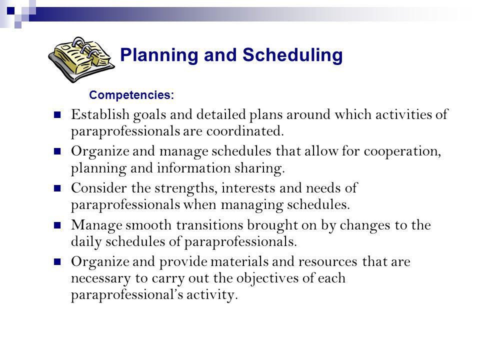 Planning and Scheduling Competencies:
