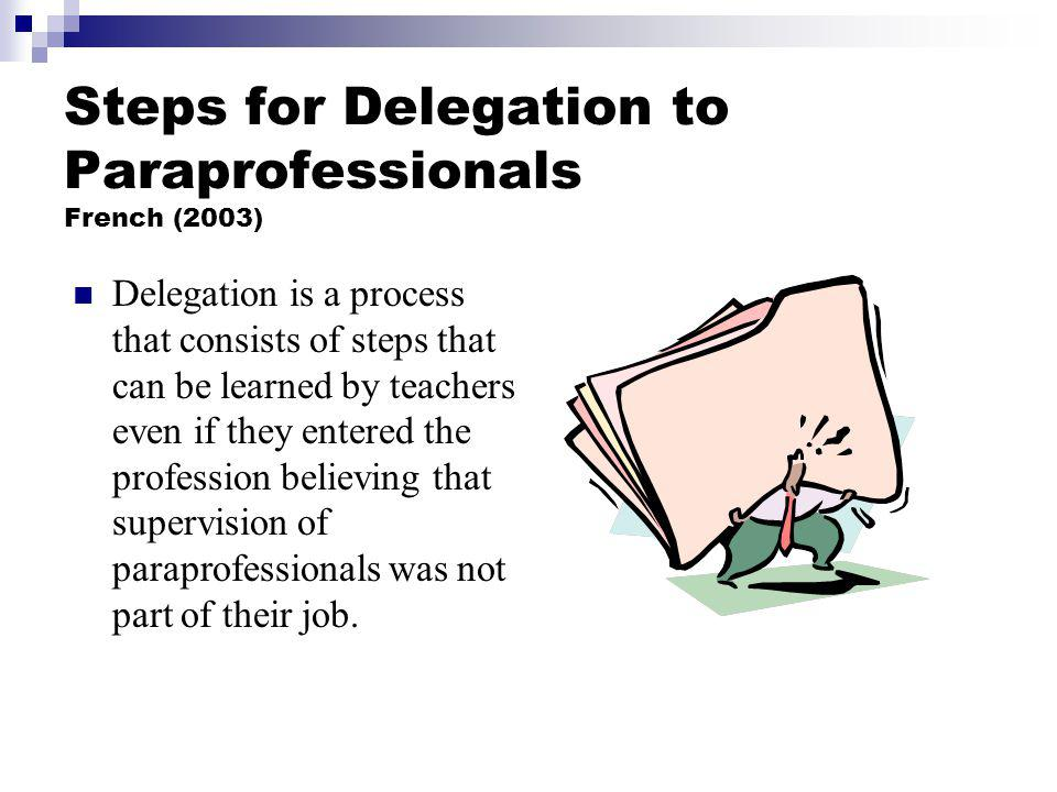 Steps for Delegation to Paraprofessionals French (2003)