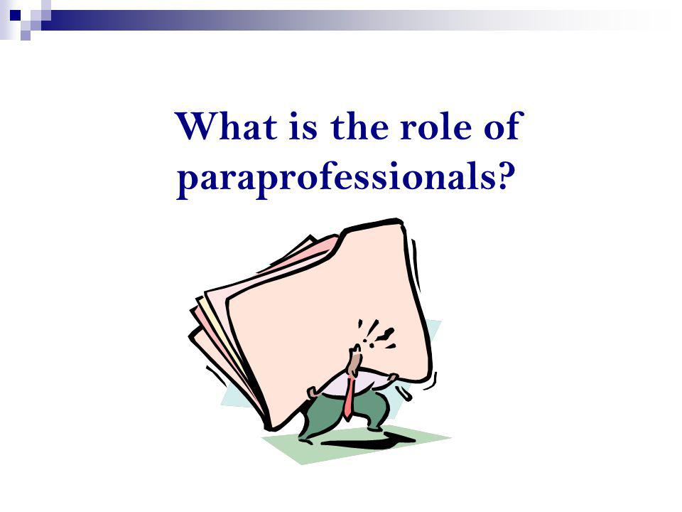 What is the role of paraprofessionals