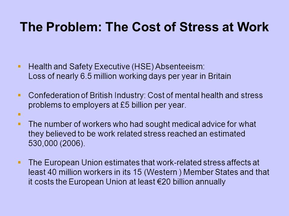 The Problem: The Cost of Stress at Work