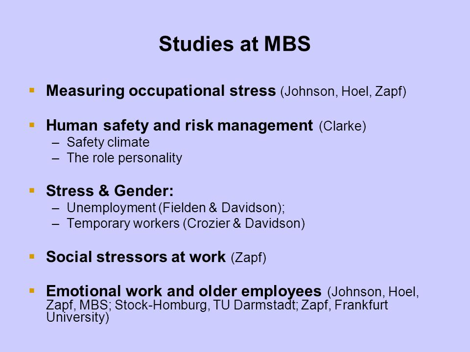 Studies at MBS Measuring occupational stress (Johnson, Hoel, Zapf)