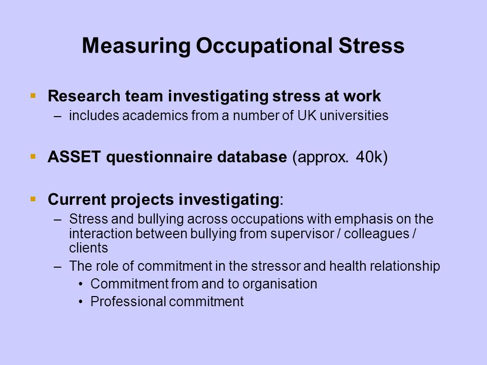 Measuring Occupational Stress