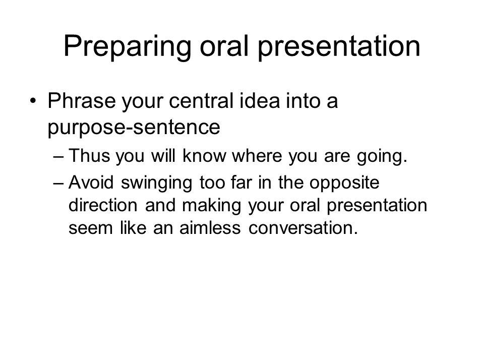 Preparing oral presentation