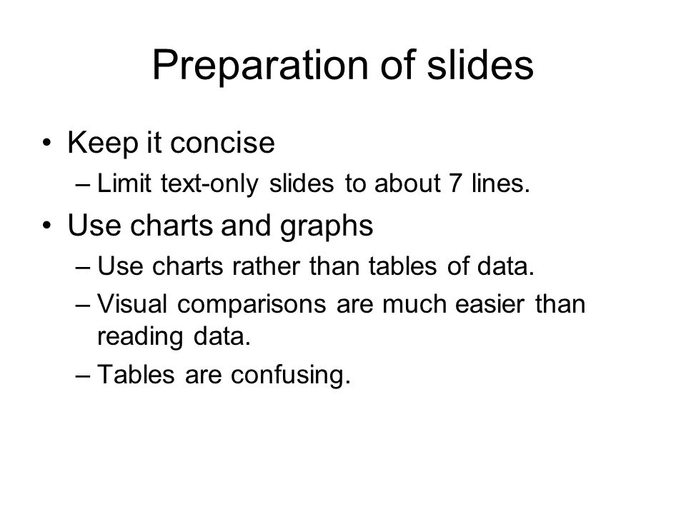Preparation of slides Keep it concise Use charts and graphs