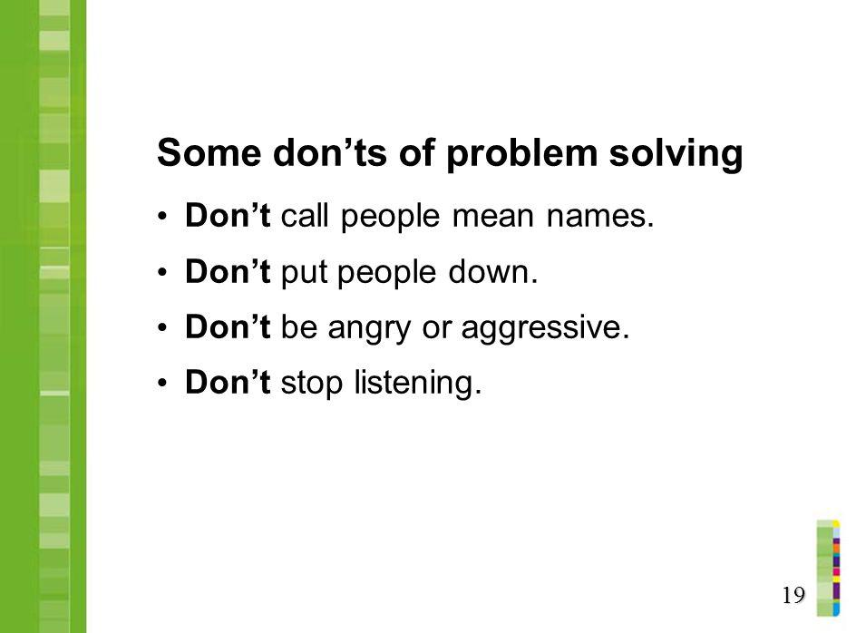 Some don'ts of problem solving